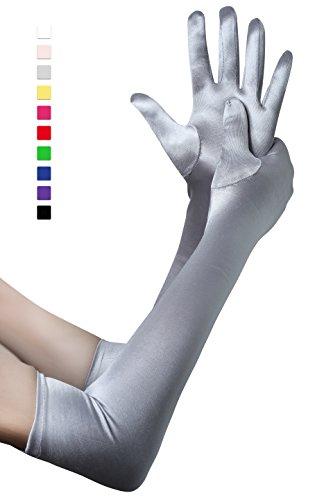 BABEYOND Damen Handschuhe Satin Classic Opera Fest Party Audrey Hepburn Handschuhe 1920er Stil Handschuhe Elastisch Erwachsene Größe Ellenbogen bis Handgelenk Länge 52/55cm (Lang Glatt 52cm / - Silber Kostüm Handschuhe