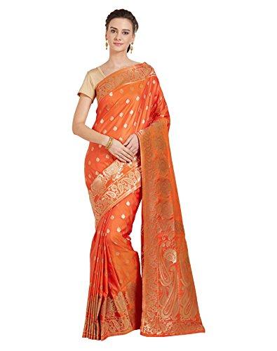 Viva N Diva Sarees For Women Banarasi Sarees New Collection Orange Colour...