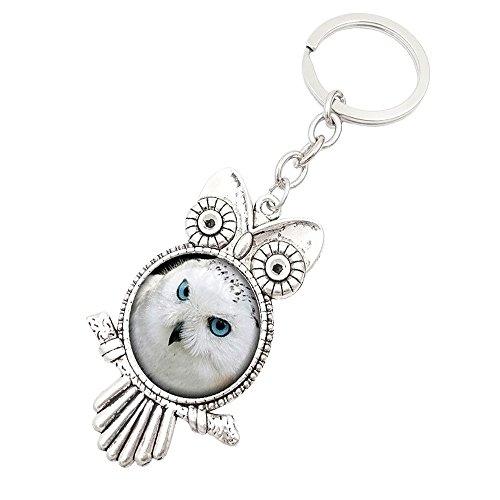 Dtuta Vintage Owl Time Gem Metal SchlüSselanhäNger Glas SchlüSselanhäNger Cute Bequem Mode
