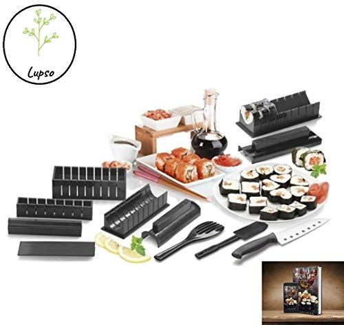 Clahshop LUPSO Kit Sushi Maker -Moules à Sushi Complet +Ebook DE 50 Recettes Offert - 11 Pièces - avec Couteau Expert A Sushi, Cuisiner Riz - Accessoires Cuisine Japonaise