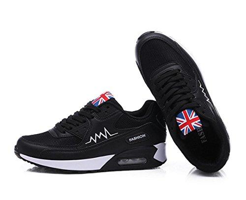 WZG Coutures chaussures de sport nouvel été usure respirant chaussures de maille coussin chaussures de course Black