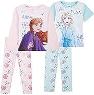 Disney Frozen Pijama Niña, Pack de 2 Pijamas Niña Invierno de Las Princesas Anna y Elsa Frozen, Regalos para N