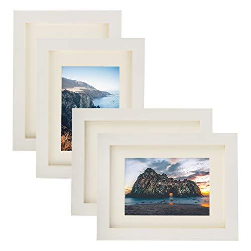 RIY Bilderrahmen 5x7 weiß aus Massivholz Tischplatte Wanddeko Fotorahmen Bilderrahmen 4er Set (Weiß 5x7 Bilderrahmen)