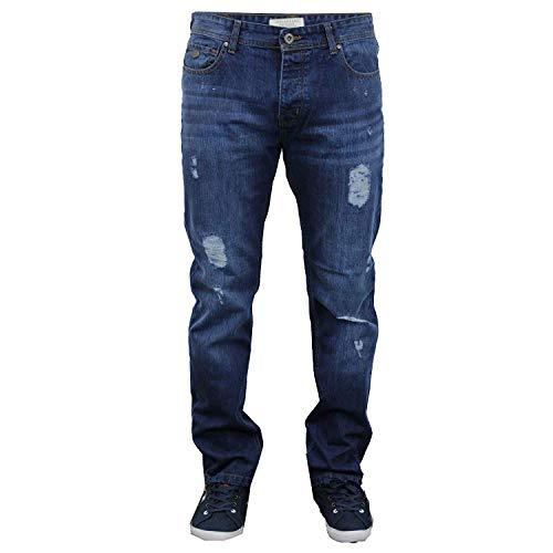 Herren Zerschlissene Jeans Slim Fit Jeans By Threadbare - Herren, Mittlere Waschung - BMU033PKA, W32 x Kurz - Zerschlissene Jeans