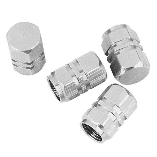 4 Stück Silber Sechskant Alu Ventilkappen für Autos PKW LKW Motorrad Chrom NEU (Chrom Ventilkappen)