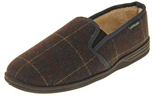 Footwear Studio Hommes Dunlop Amauri Fausse Fourrure Pantoufles Gris et Marron