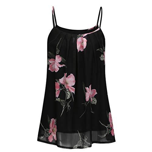 Andouy Damen Camisole Floral Blumenmuster Ärmellos Sexy Träger Weste TankGr.34-42 Strand Slouch Cami Top(M(36),Schwarz-2)