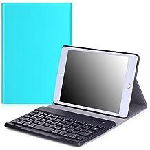 MoKo iPad Mini 4 Funda - Wireless Bluetooth Keyboard Case con PU Cuero Teclado Inalánbrico QWERTY Layout Para Apple iPad Mini 4 7.9 Pulgadas 2015 Tableta, AZUL Claro