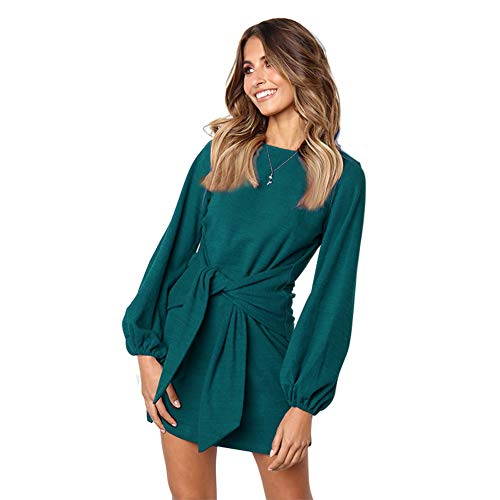 Longwu le Donne Le Maniche Lunghe Benda Festa Vestito Casual Verde Scuro-S 3a48a6cf081