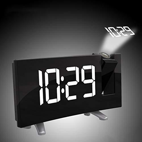 Fang FANS Wecker Uhr digital, Desktop Clock, Radio Snooze Dual Alarm, Arc Led Projektions Moderne, mit USB Kabel (White) (Projektion, Clock Radio Dual Alarm)