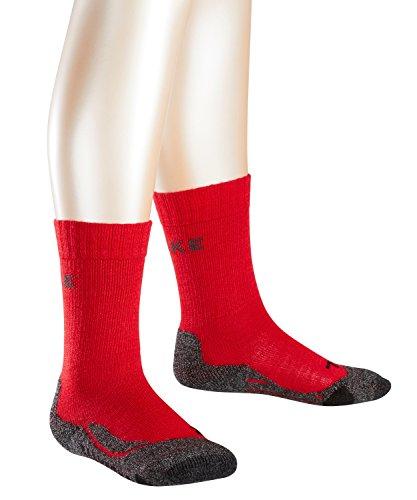 FALKE TK2 Kinder Trekkingsocken / Wandersocken - rot, Gr. 31-34, 1 Paar, Merinowolle-Mix, feuchtigkeitsregulierend, dämpfende Wirkung, mittelstarke Polsterung