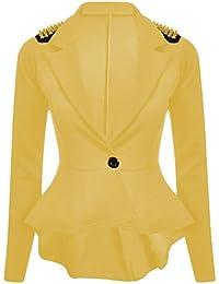 Chocolate Pickle ® Frauen plus Größe Gold-Beschlagene Schößchen Blazer Spike Jacke 36-52