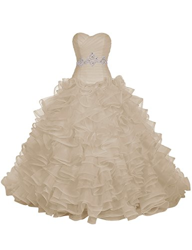 Find Dress Paillette Robe de Mariée Princesse Femme Plissé Multicouche Floral Cocktail Longue Party Anniversaire Col en Coeur Robe de Soirée Grande Taille Formelle en Tulle Champagne