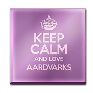 PURPLE Keep Calm and Love Aardvarks Glass Coaster COLOUR 1951