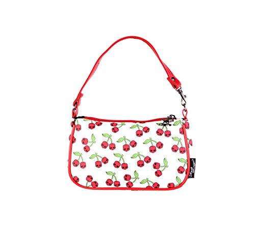 MB-Müller Rockabilly Handtasche | Karo Puzzle Kirschen Reisetasche-Handtasche | Bügeltasche mit Reißverschluss | Größe: 19 cm lang x 11 cm hoch x 4 cm Tief 100% PVC (22493-493-000) (Hexe Hübsche Schminken)