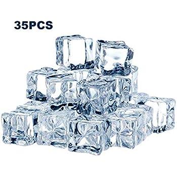 Auntwhale 16 pezzi cubetti di ghiaccio acrilico forma quadrata finta ghiaccio artificiale acrilico cubetti di cristallo chiaro per fotografia puntelli cucina giocattolo decorazione