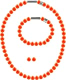 3er Schmuckset Perlenkette Medium mit original Swarovski  Perlen 8mm, Farbe:Neon Orange Pearl
