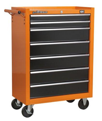 DJM -Mueble de cajones American Pro 7 color naranja y negro con rodamientos, caja de herramientas