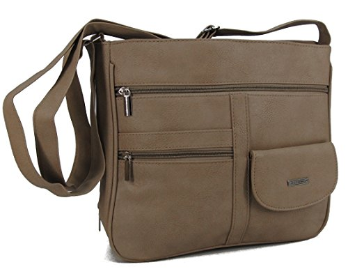 7659e379d0270 STEFANO Damen Umhängetasche Schultertasche Frauen Handtasche soft PU  verschiedene Modelle M2- Taupe ...