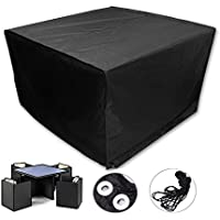 Square Patio Rattan Wicker Table and Chair Set Cover Waterproof for Outdoor Garden Furniture Care 48x 48 x 29 Inch Black