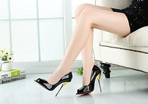 HeiSiMei Frauen High Heels / Stiletto Fersen / super hohe Sandalen / Fisch Mund Schuhe / offene Zehe / Nightclub / Party & Abend / Herren / Unisex BLACK-EU44