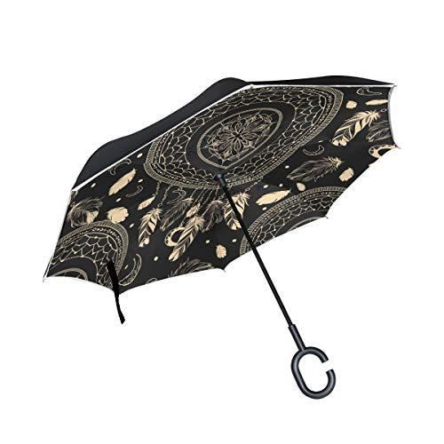 BIGJOKE Paraguas invertido de doble capa, étnico, atrapasueños, estampado de plumas, paraguas invertido, resistente al viento, resistente al agua, para coche, al aire libre, viajes, adultos, hombres y mujeres