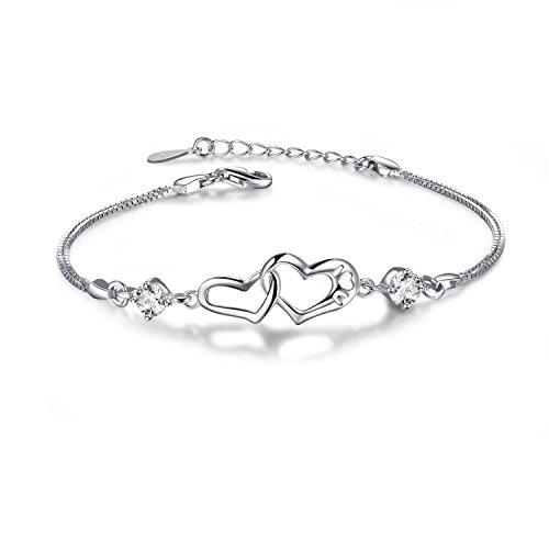 Damen Armband mit Herz, 'Niemals getrennt', aus 925 Sterling Silber Armbänder Herz und Zirkonia
