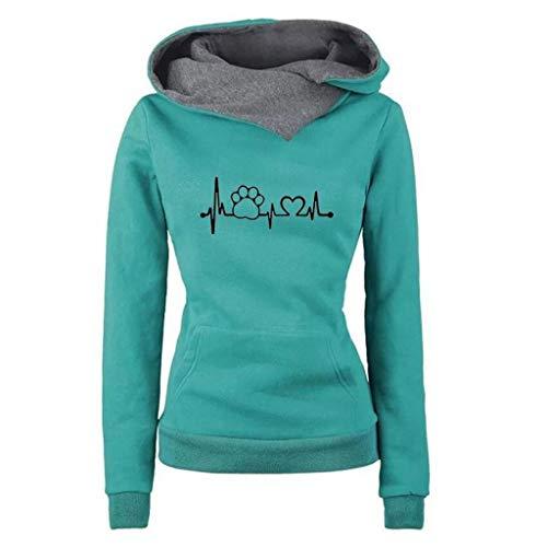 iYmitz Damen Herbst und Winter Beiläufig Hoodies Farbe Sweatshirt Reiner Blusen-Pullover(A-Grün,S)