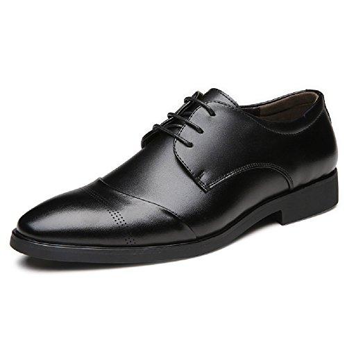 JOYTO Business Herren Anzugschuhe, Lederschuhe Schnürhalbschuhe Oxford Schuhe Smoking Lackleder Hochzeit Derby Leder Brogue Schwarz Braun 37-47 BK45