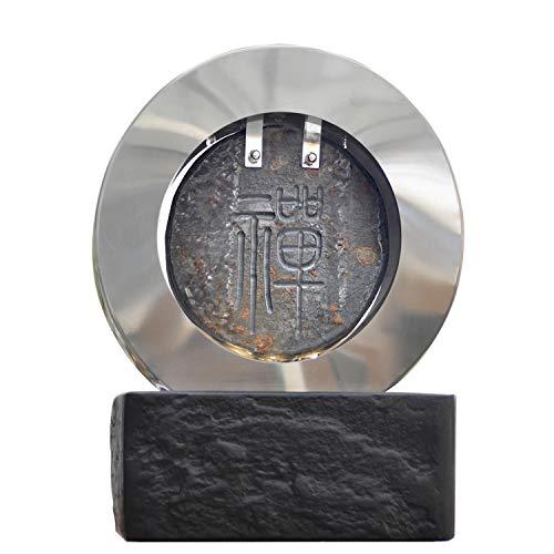 Köhko Zimmerbrunnen mit chinesischem Schriftzeichen 禅 Zen Dekobrunnen aus Edelstahl, Naturstein mit LED-Beleuchtung 25013