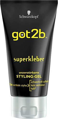 schwarzkopf GOT2B Gel Coiffant Pot de Colle Superkleber Styling Gel Glue 150ml (Pack of 6)