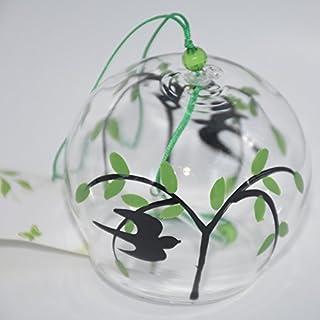 Japanisches Windspiel Edo Furin Handgefertigtes Glas-Windspiel, Motiv: Schwalbe und Weide