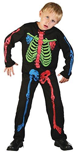 4Skelett Boy Knochen Kostüm, mehrfarbig, mittel, 122–134cm, Alter: ca. 5–7Jahre, Skelett Boy Mehrfarbig Knochen (M) (Skelett Jumpsuit Kostüm)