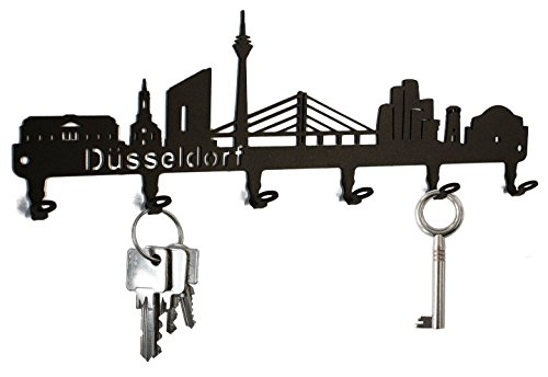 steelprint.de Schlüsselbrett/Hakenleiste * Skyline Düsseldorf * - Schlüsselboard Nordrhein-Westfalen, Schlüsselleiste, Metall - 6 Haken