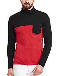 Hypernation Red And Black Color High Neck Cotton T-shirt For Men