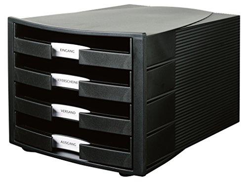 HAN Schubladenbox IMPULS in Schwarz / Stapelbare Sortierablage mit 4 großen, offenen Schubladen für DIN A4/C4 / inkl. Beschriftungsschilder