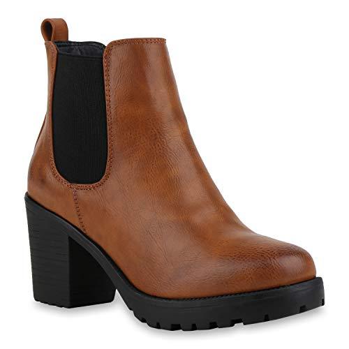 Stylische Damen Boots Stiefeletten Chelsea Boots Knöchelhohe Stiefel Zipper Leder-Optik Booties Schuhe 127417 Hellbraun Glatt 38 Flandell