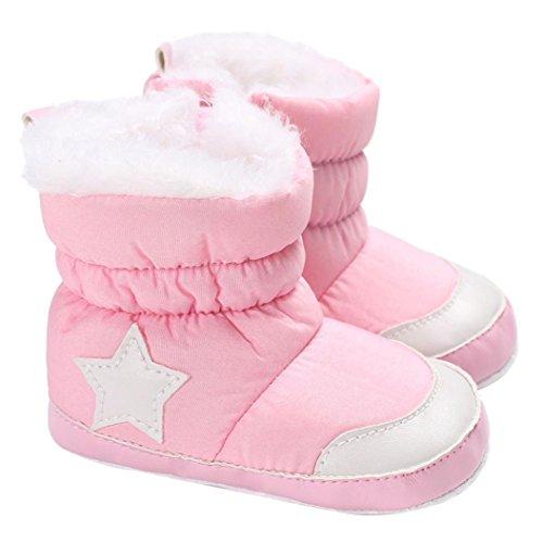 Janly Schuhe für 0-2 Jahre Baby, Winter Warm Booties Mädchen Boy Star Baumwolle Schnee Stiefel Infant Kleinkind Zip Crib Schuhe Erste Wanderer (6-12 Monate, Rosa)