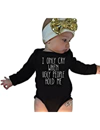 "Covermason Lindo ""I only cry when ugly people hold me"" Impresión Mono Bodies + Diademas para 0-18M Bebé (2PCS/1 Conjunto)"