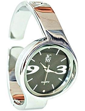 Elegante Damen-Armbanduhr, modern mit Ziffern in grau, silber und schwarz, hochwertiges Japan Uhrwerk, analoge...