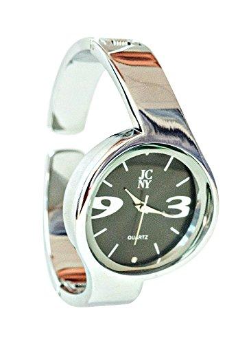 Elegante Damen-Armbanduhr, modern mit Ziffern in grau, silber und schwarz, hochwertiges Japan Uhrwerk, analoge Anzeige und Armreif, Marken Uhr von Jimmy Crystal New York