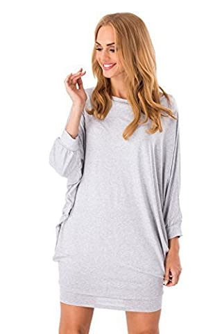 Futuro Fashion Mini Robe Femmes Manches Chauve-souris Col Bateau Manches Longues Robe Tulipe 8997 - Cendre, 48 XXXL