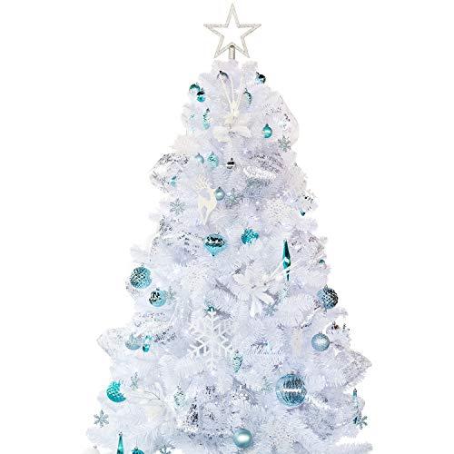 Busybee Albero di Natale Artificiale con Set di Ornamenti di Decorazione (Blu e Bianco, 180cm)
