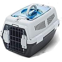 Yingyu Bolsa de Transporte para Mascotas Doble Cerradura Puerta de Metal Transportín Gato 48×32×29.5 cm Negro/Gris