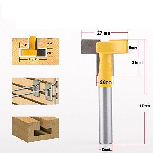 AKUTA 8 mm vástago superior calidad ranura en T & T-Track Slotting Router Bit para carpintería cincel cortador al por mayor precio