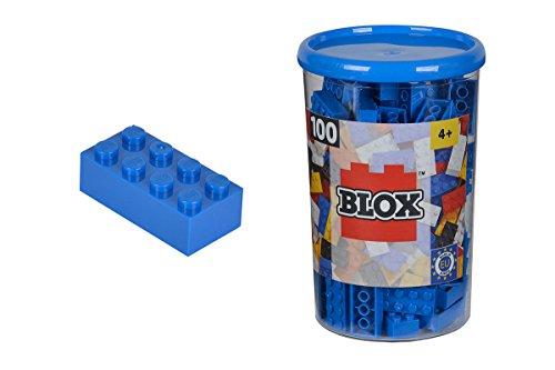 Simba 104118906 - Blox Steine in Dose, Konstruktionsspielzeug, 100, blau