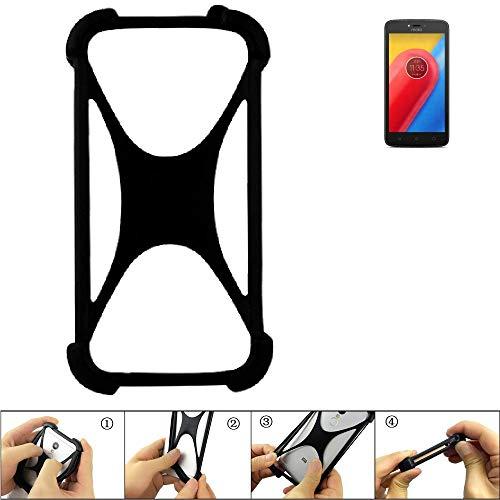 K-S-Trade Handyhülle Lenovo Moto C LTE Silikon Schutz Hülle Cover Case Bumper Silikoncase TPU Softcase Schutzhülle Smartphone Stoßschutz, schwarz (1x)