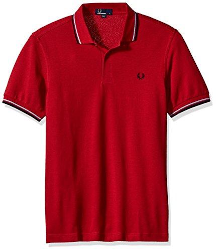 Fred Perry Herren Poloshirt Twin Tipped Shirt Rot (Deep Red / Lts / Navy E90)