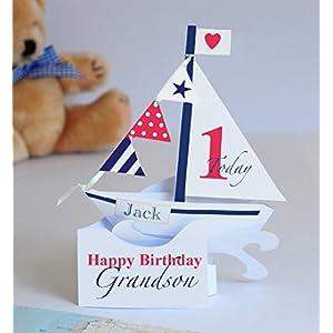 Personalisierte Popup Segelbootkarte fur einen Jungen/Enkel/Sohn/Godson/Nephews1. Geburtstag.