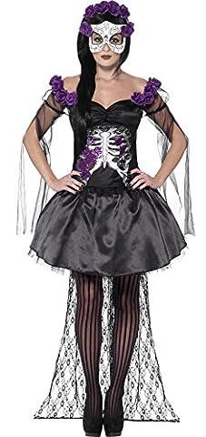 Costumes Pour Les Adultes Morts Bride Zombie - Déguisement squelette violet mexicain femme
